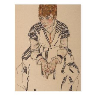 Die Schwägerin Künstlers Egon Schiele- Postkarte