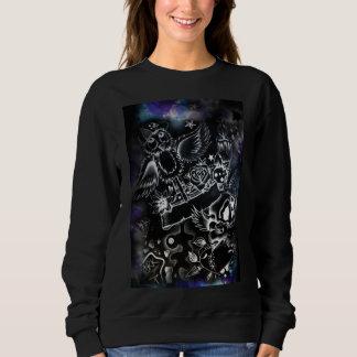 die schwarze grafische Strickjacke der Frauen Sweatshirt