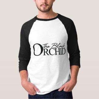 Die schwarze Hülse Jersey der Orchideen-3/4 T-Shirt