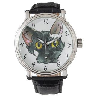 Die schwarze Katzen-Vintage schwarze lederner Uhr