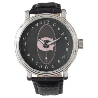 Die schwarze lederne Uhr der Band-Männer