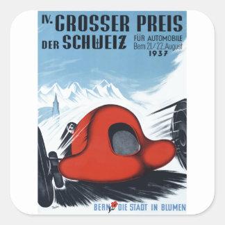 Die Schweiz 1937 Grandprix, der Plakat läuft Quadratischer Aufkleber