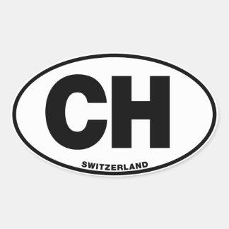 Die Schweiz CH ovale Ovaler Aufkleber