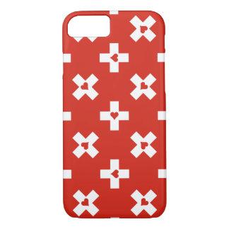 Die Schweiz-Flagge mit Herzmuster iPhone 8/7 Hülle
