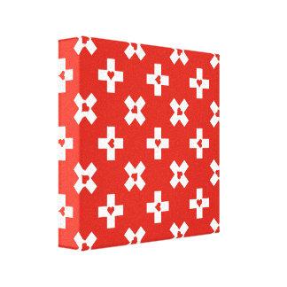 Die Schweiz-Flagge mit Herzmuster Leinwanddruck