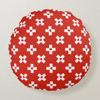 Die Schweiz-Flagge mit Herzmuster Rundes Kissen