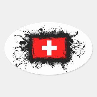 Die Schweiz-Flagge Ovaler Aufkleber