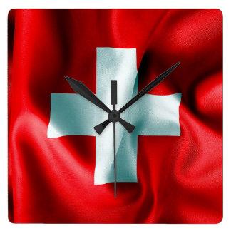 Die Schweiz-Flagge Quadratische Wanduhr