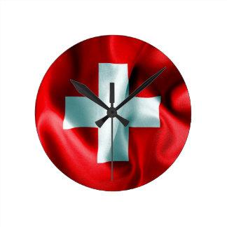 Die Schweiz-Flagge Runde Wanduhr