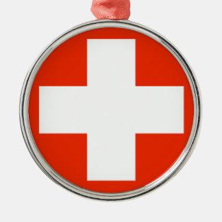 Die Schweiz-Flagge Rundes Silberfarbenes Ornament