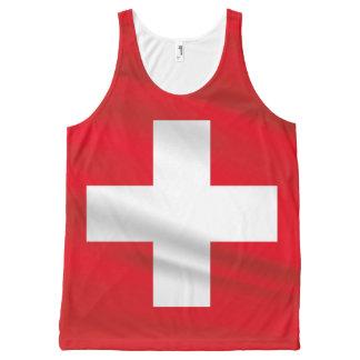 Die Schweiz-Flaggen-rotes Trägershirt Unisex Komplett Bedrucktes Tanktop