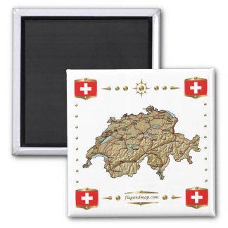 Die Schweiz-Karte + Flaggen-Magnet Quadratischer Magnet