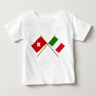 Die Schweiz und Italien gekreuzte Flaggen Baby T-shirt