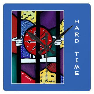 Die schwere Zeit auf Blau - Zeit-Stücke Quadratische Wanduhr