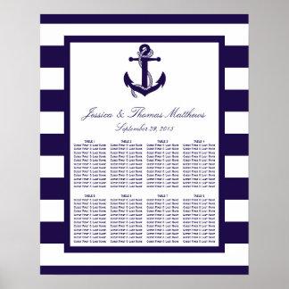 Die Seeanker-Marine-Streifen-Hochzeits-Sammlung Poster