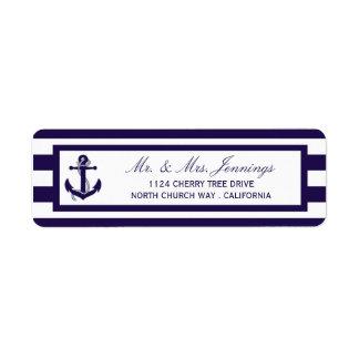 Die Seeanker-Marine-Streifen-Hochzeits-Sammlung Rücksendeetiketten