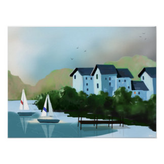 """Die Segelboot-"" Kunst-Plakat Poster"