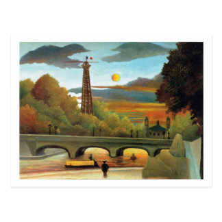 Die Seine u. Eiffelturm im Sonnenuntergang durch Postkarte