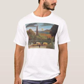 Die Seine und Eiffelturm im Sonnenuntergang durch T-Shirt