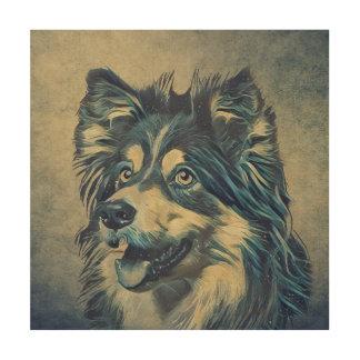 Die Shetlandinseln-Schäferhund-Malerei-hölzerne Holzdruck