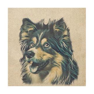 Die Shetlandinseln-Schäferhund-Malerei-hölzerne Holzwanddeko