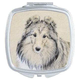 Die Shetlandinseln-Schäferhund-Malerei - niedliche Taschenspiegel