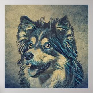Die Shetlandinseln-Schäferhund-Malerei Poster