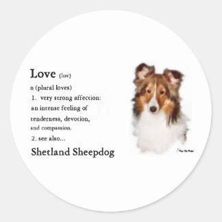 Die Shetlandinseln-Schäferhund Sheltie Runder Aufkleber