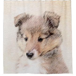 Die Shetlandinseln-Schäferhund-Welpe, der Duschvorhang