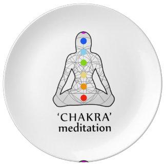 Die sieben chakras mit ihren jeweiligen Farben Teller