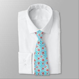 Die silk Krawatte der Männer, Türkis, rote Blumen