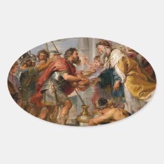 Die Sitzung von Abraham und Melchizedek Rubens von Ovaler Aufkleber