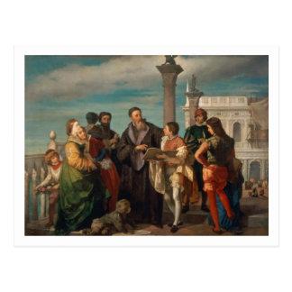 Die Sitzung zwischen Titian (1488-1576) und Postkarte