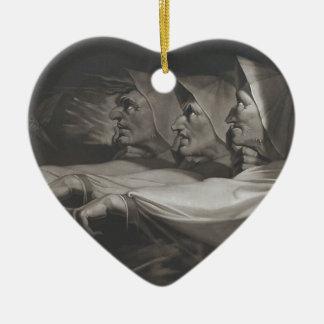 Die sonderbaren Schwestern (Shakespeare, Macbeth) Keramik Herz-Ornament