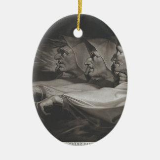 Die sonderbaren Schwestern (Shakespeare, Macbeth) Ovales Keramik Ornament