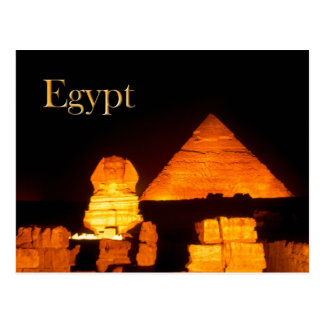 Die Sphinx und die Pyramide von Khafre nachts Postkarten