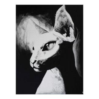 Die Sphynx Katzen-katzenartige schwarze u. weiße Poster