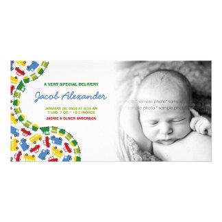 Die Spielwaren-Baby-Mitteilungs-Foto-Karte des Jun Photokartenvorlagen