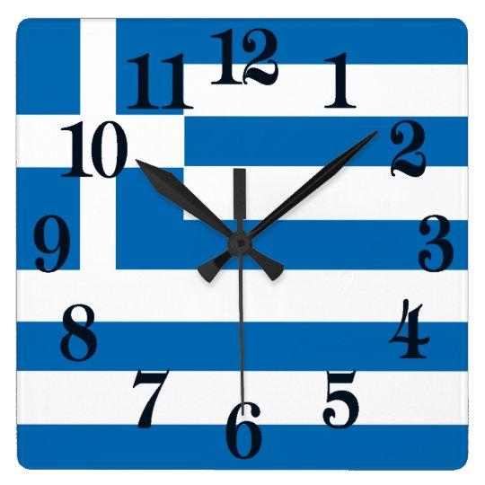 Die Staatsflagge von Griechenland Quadratische Wanduhr