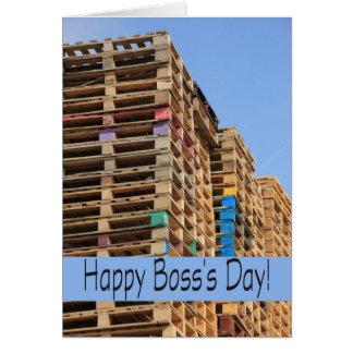 Die Staplungspaletten des glücklichen Chefs Tag Karte