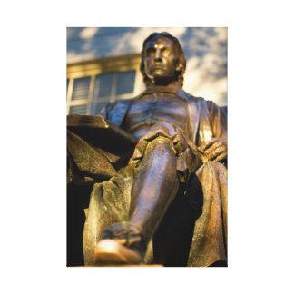 Die Statue Johns Harvard Leinwanddruck