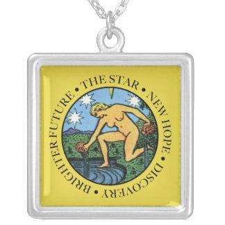 Die Stern-Halskette mit Text Versilberte Kette