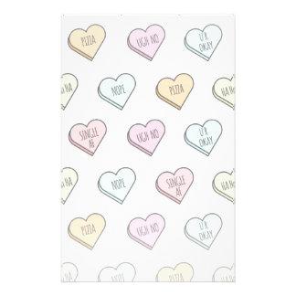 Die Süßigkeits-Herz-Muster des sarkastischen Briefpapier