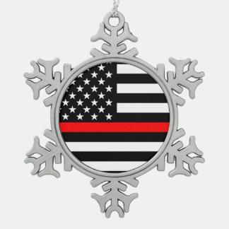 Die symbolische dünne rote Linie amerikanische Schneeflocken Zinn-Ornament