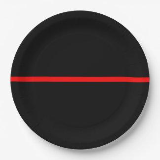 Die symbolische dünne rote Linie Aussage Pappteller