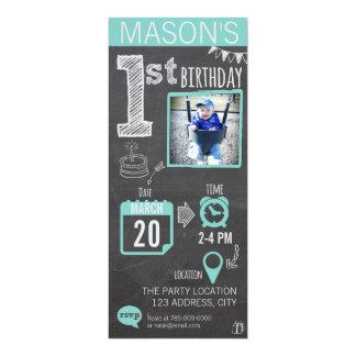 Die Tafel-1. Geburtstags-Einladung des Jungen 10,2 X 23,5 Cm Einladungskarte