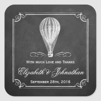 Die Tafel-Heißluft-Ballon-Hochzeits-Sammlung Quadratischer Aufkleber