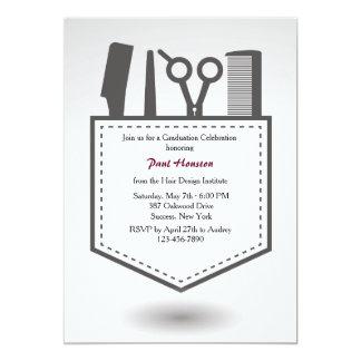 Die Taschen-Abschluss-Einladung des Friseurs 12,7 X 17,8 Cm Einladungskarte