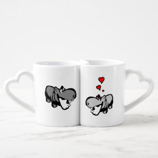 Die Tassen-Set der Liebhaber - Flusspferd in der Liebestasse