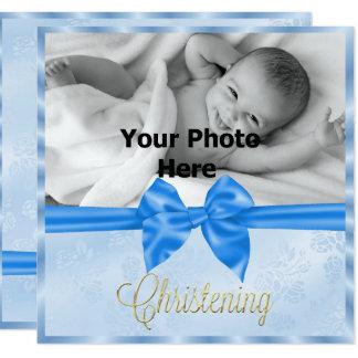 Die Taufe des Satin-Bogen-Foto-Jungen Karte